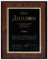 Диплом за высокие результаты в 2002 г.