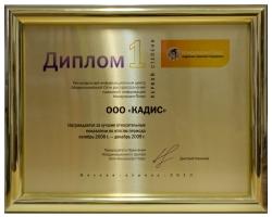 Диплом_лучшие_показатели 2008-2009 гг.